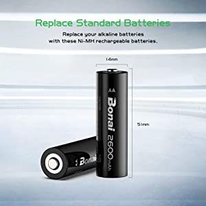 rechargeable aa batteries 2800mah