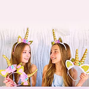 Child Pink /& Gold Unicorn Horn /& Ears on Headband Pretty Fancy Dress Accessory