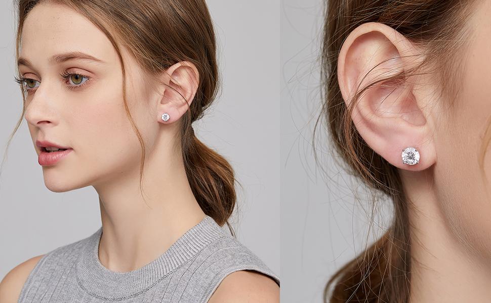 diamond stud earrings sterling silver earrings for women mens diamond earrings cz stud earrings