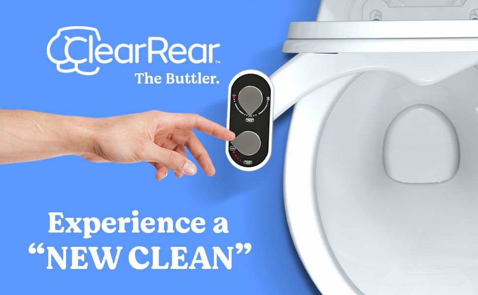 clear rear the buttler bidet toilet attachment wash disinfect sanitize hygiene hygienic luxurious