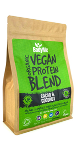 BodyMe Organic Vegan Protein Powders Blend or Plant Based Vegan Protein Powder - Cacao Coconut