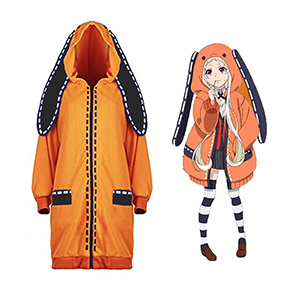 Costume de Jabami Yumeko du manga Kakegurui pour femme fille Manteau long de style lapin orange