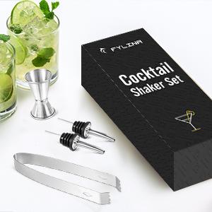 FYLINA Juego de coctelera de 14 piezas con coctelera grande de 750 ml y libro de recetas de cóctel profesional en caja de regalo para hombres y ...