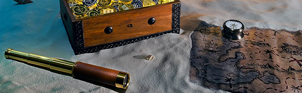 Retro Pirate Telescope Zoomable Brass Spyglass Portable Collapsible Handheld Telescope