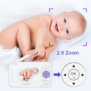 """baby monitor with camera and audio - GOODBABY Real 720P 5"""" HD Display Video Baby Monitor With Camera And Audio, Remote Pan&Tilt&Zoom, Two-Way Talk,Temperature Monitor, Night Vision, Lullaby Player, 960ft Range"""
