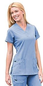 Model wearing Jockey 2206 women's Favorite V-Neck Scrub Top