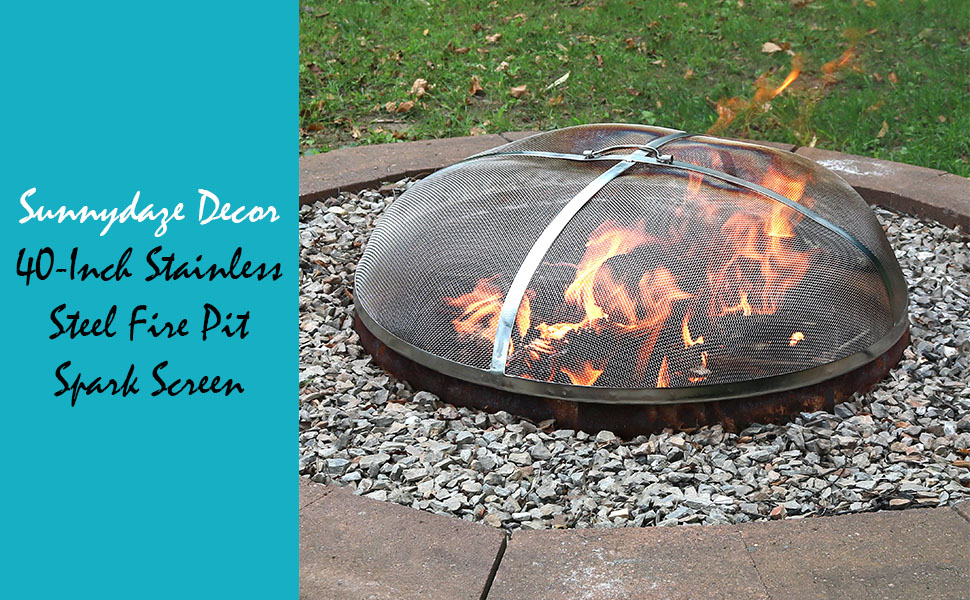 Amazon Com Sunnydaze Fire Pit Spark Screen Cover Round Outdoor Heavy Duty Metal Firepit Lid Protector Rust Resistant Stainless Steel Replacement Accessory 40 Inch Garden Outdoor