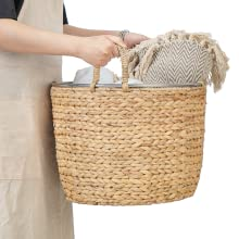 Wicker blanket basket with handles