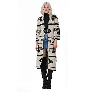 Women's Long Navajo Blanket Sweater Coat Jacket Cardigan Long Sleeve 100% Acrylic Open Front VT34345