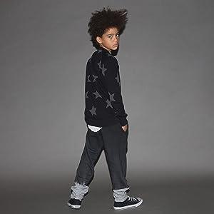 CREWNECK SWEATSHIRT COTTON TO BOYS GIRLS UNISEX KIDS LONG SLEEVE TOP BLACK BOYS GIRLS