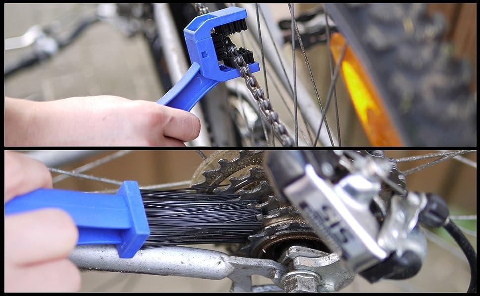 Blau Motorrad Fahrrad Kette Kettenbürste Kettenreiniger Reinigungsbürste Bürste