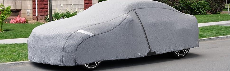 VETOMILE Funda Coche Exterior, Cubierta del Coche Impermeable, Anti-UV Transpirable Resistente a Lluvia/Nieve/Polvo, Lona para Coche (432 × 165 × ...