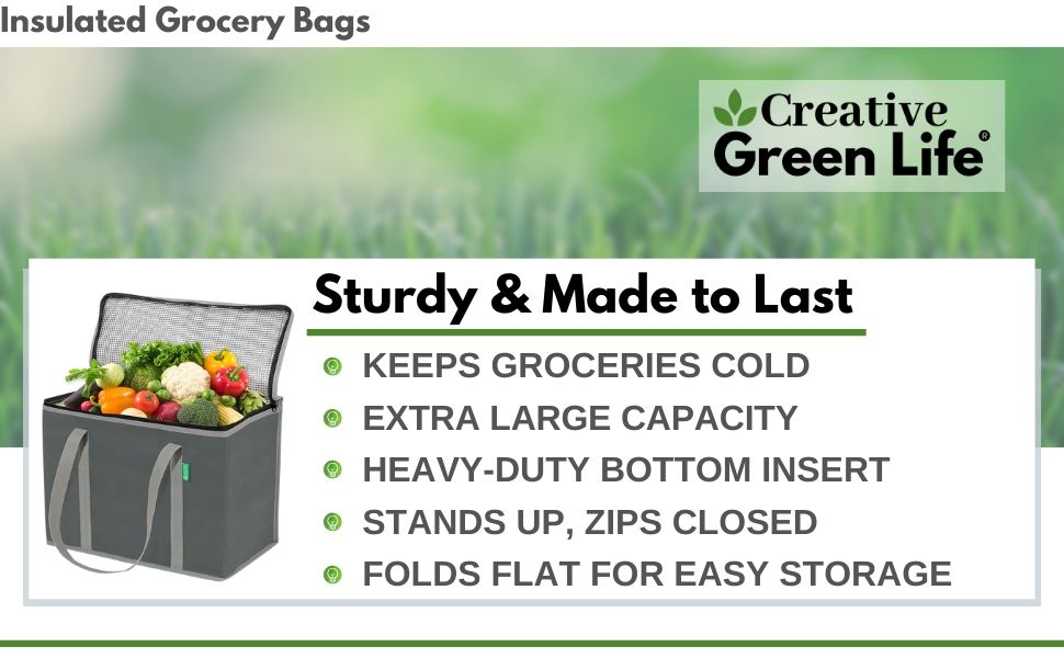 creative green life insulated grocery bags