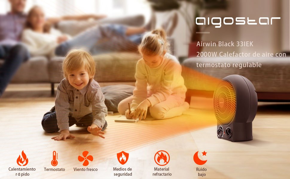 Aigostar Airwin Black 33IEL 2000W Calefactor de aire con