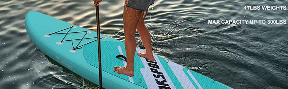 Paddle Surf Board with Adjustable Paddle AECOJOY 106/×32/×6 Inflatable Stand Up Paddle Board for All Skill Level Hand Pump /& Backpack Non-Slip Deck Bonus Waterproof Bag Leash