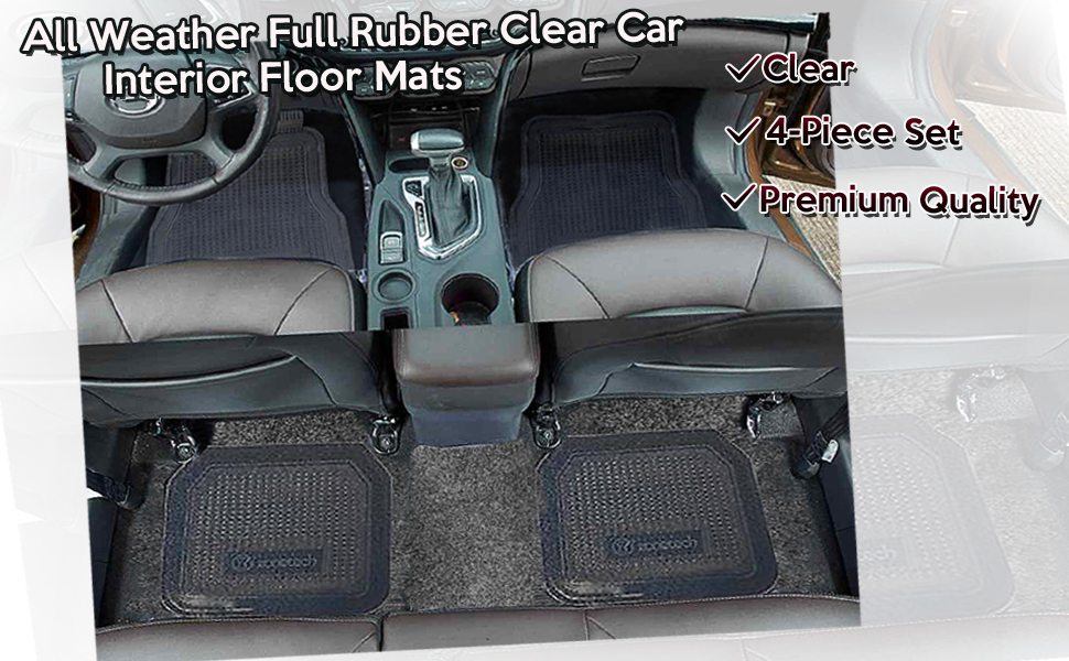 Zone Tech All Weather Full Rubber Clear Car Interior Floor Mats – 4 Piece Set Clear Heavy Duty Car Interior Floor Mats