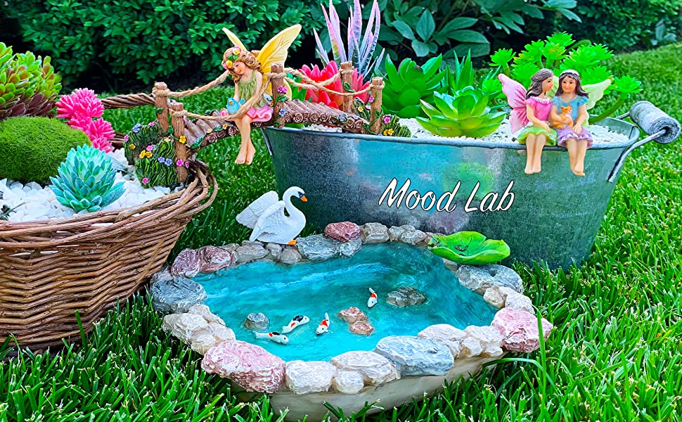 Garden Gnome House Fairy set Miniature Figurines Kit Accessories Mood Lab