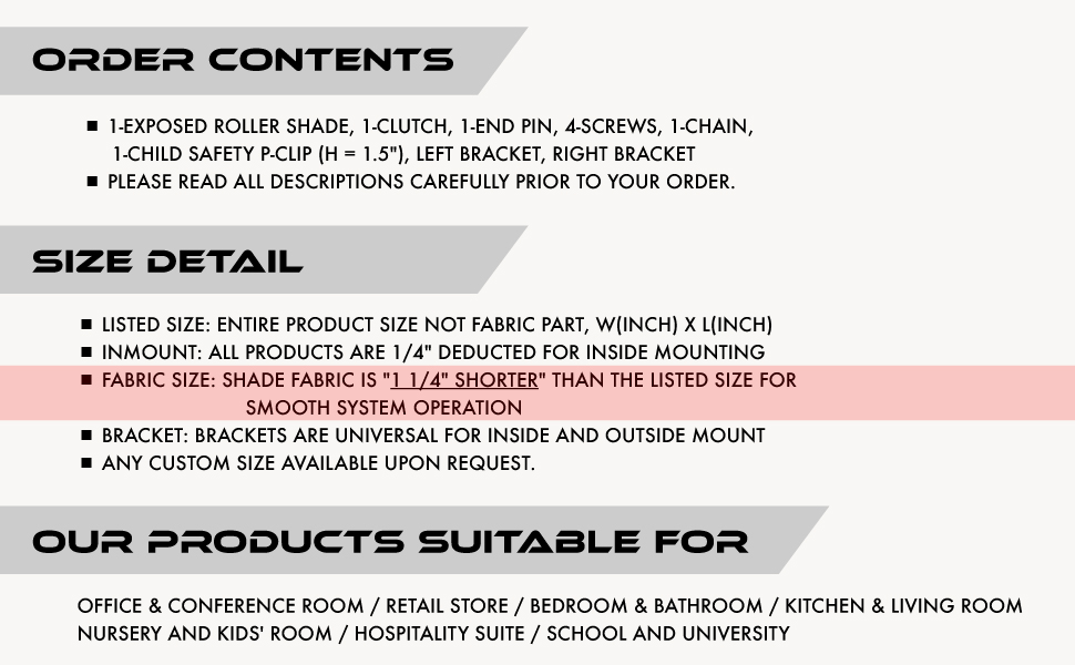 order contents, size detail, note, caution, quick guide, components