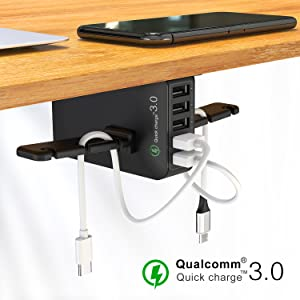 Headset Hanger and Mount with Cable Organizer,USB-A and QC 3.0   Gaming, Computer, and PC Accessory