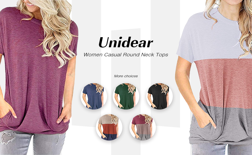 UNIDEAR WOMEN CASUAL LOOSE FIT TUNIC TOP BAGGY COMFY BLOUSE SHORT SLEEVE WITH POCKET