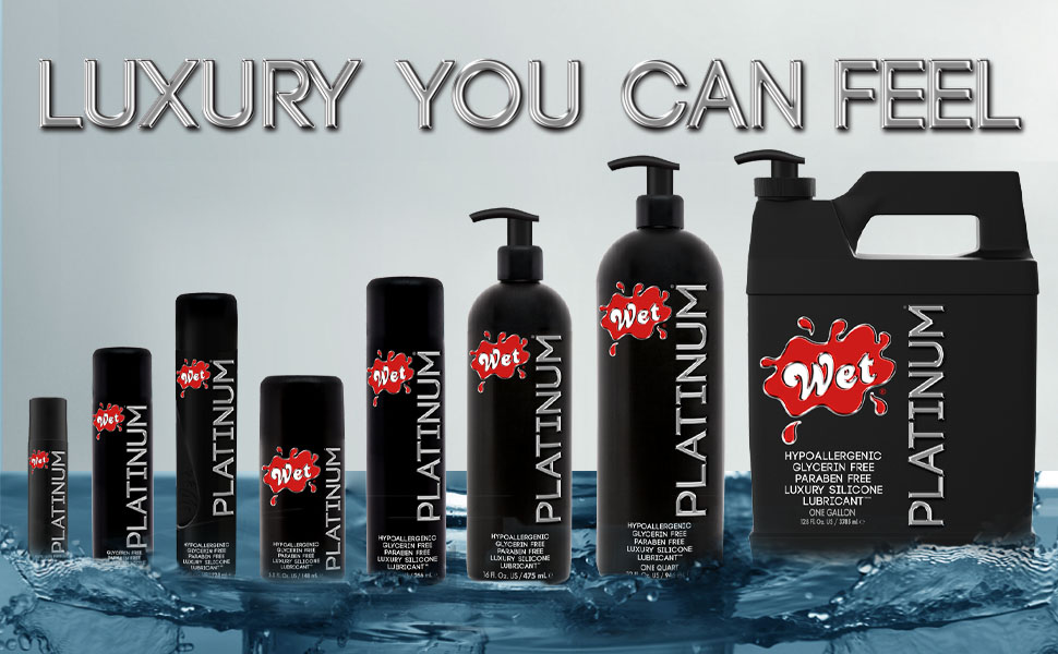 wet platinum premium luxury high grade silicone based lube all sizes