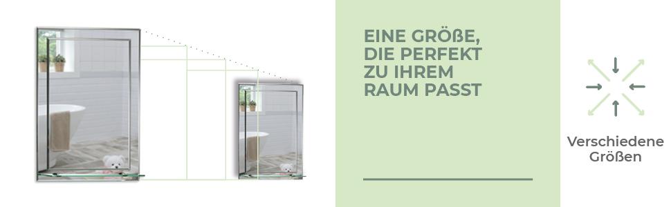 Mood Neue Design Badezimmerspiegel Wandspiegel mit Ablage rechteckig schlicht  Glas Facette Iowa