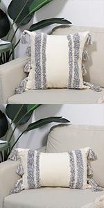 tassels rectangle pillows home decorative geometric farmhouse boho modern