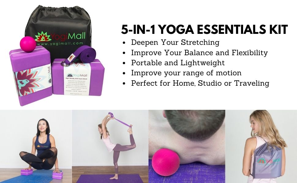 Yoga Essentials Kit - Yoga Blocks Massage Ball, Yoga Strap and Carry Bag