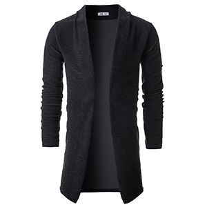 ainr Mens Casual Open Front Longline Long Sleeve Draped Lightweight Cardigan