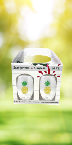 fun gift wine lover women pineapple summer beach vacation shatterproof unbreakable