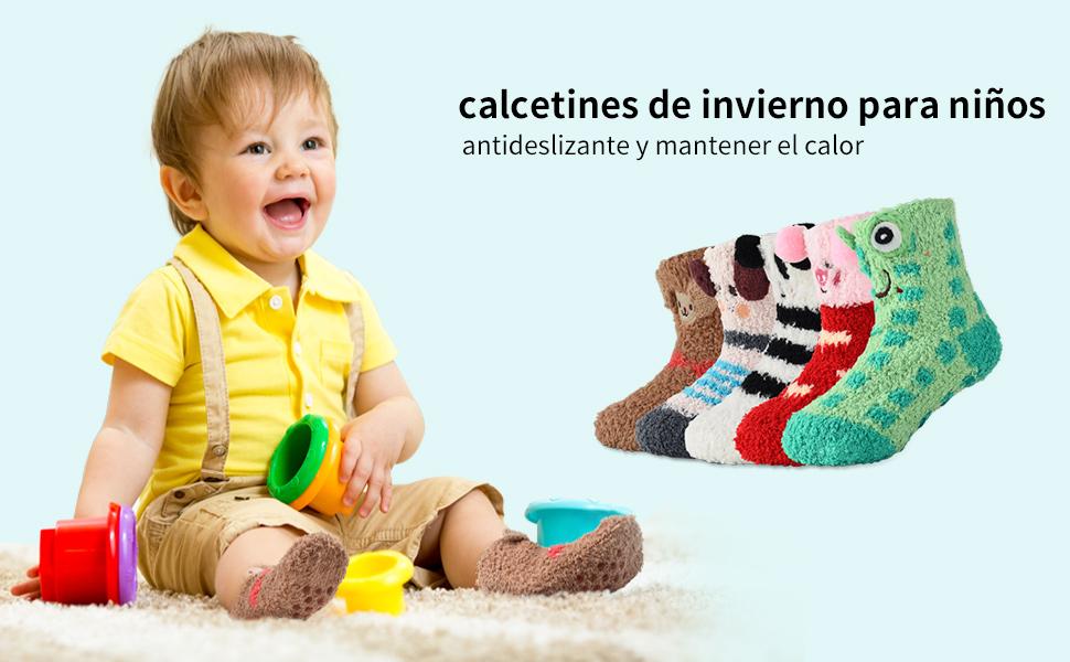 Calcetines de Invierno Calcetines de Piso Calientes para Niños y Niñas de 0-3 Años Abrigados