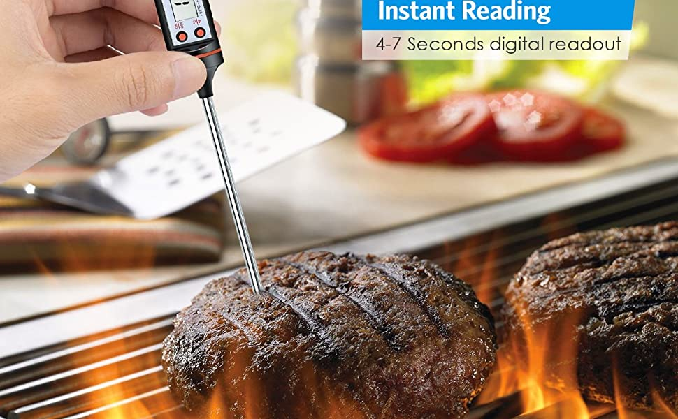 Digital Sensor LCD Cooking Stainless Steel Long Probe electronic Instant Read Thermometer