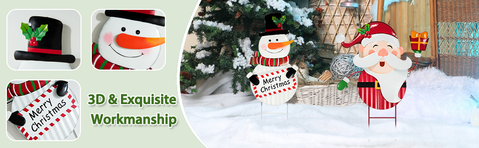 SANTA AND SNOWMAN LAWN STAKES FOR HOLIDAY YARD DECORATION!