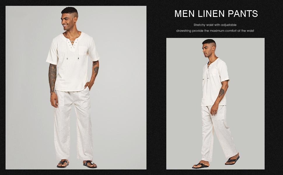 men linen panrs casual