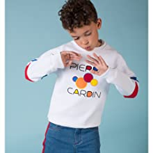 Pierre Cardin kids white graphic sweater and blue jeans