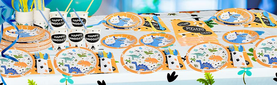 Decoracion de Fiesta para Chico Ni/ños Cumplea/ños Servilletas Cubiertos Mantel Platos/Pancartas Globos Tazas Sirve a 16 Invitados 169 Piezas WERNNSAI Suministros de Fiesta de Dinosaurio Set