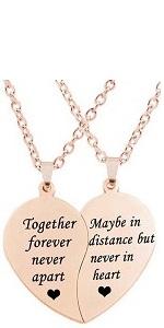 rose gold best friends necklace together forever