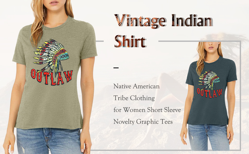 Women Indian Headdress Outlaw Round Neck Short Sleeve Novelty Graphic Tees Casual Tops Blouses T Shirts