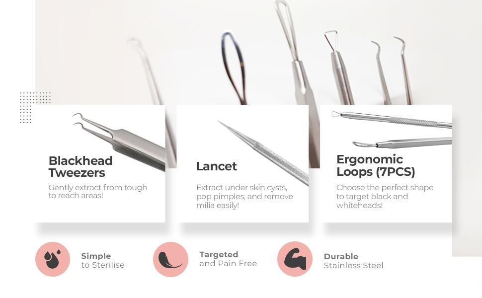 pimple popper tool kit, whitehead, blackhead, remover, extractor, acne, tools, milia, lancet, dr