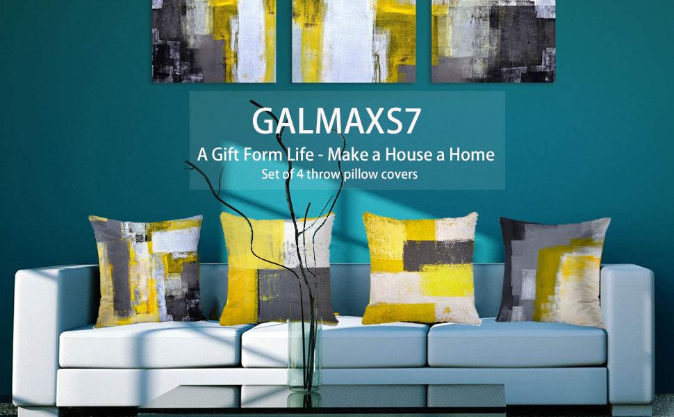 yellow pillows decorative throw pillows grey couch pillows abstract throw pillow  brown pillows
