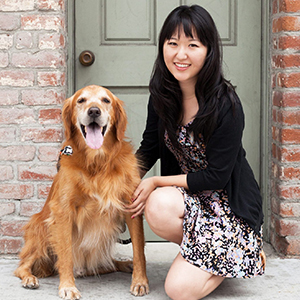 Photo of JJ The Golden Retriever and the ZippyPaws Founder: Jen