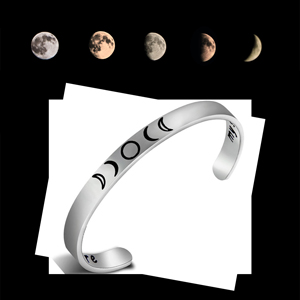 Moon Phase Bangle Silver