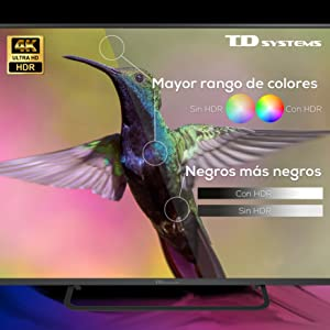 Televisiones Smart TV 58 Pulgadas 4K Android 9.0 y HBBTV, 1500 PCI Hz UHD HDR, 3X HDMI, 2X USB. DVB-T2/C/S2, Modo Hotel - Televisores TD Systems K58DLX11US: Amazon.es: Electrónica