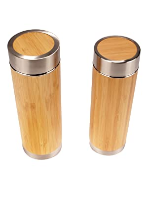 bamboo insulated travel tea brew thermos