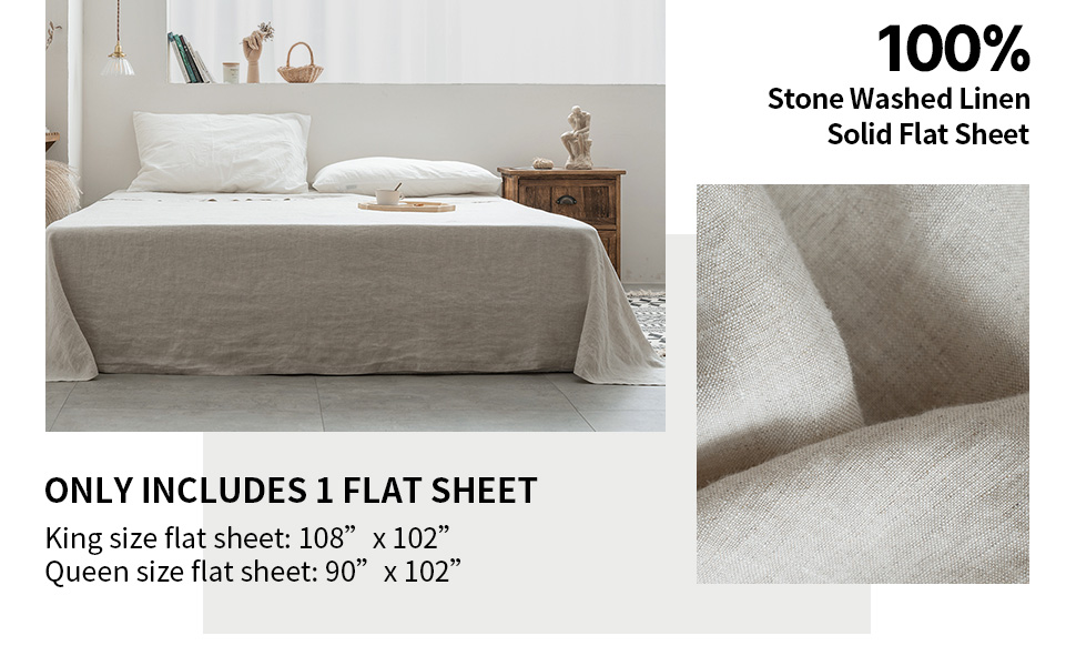 100% linen flat sheet with stone washed
