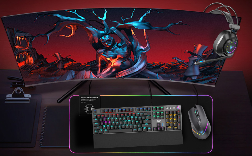Aula F2088 Mechanical Gaming Keyboard Removable Wrist Computers Accessories