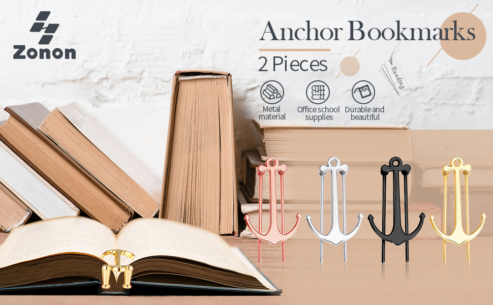 Gold You/&Lemon 2 Pieces Metal Anchor Bookmark Creative Bookmarks Book Page Marker for School Office Supplies