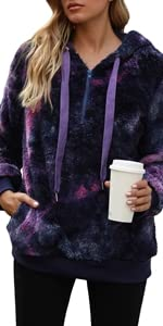 open neckline and ribbed finishes on the sleeves tie dye printed hoodie sweatshirt winter fall