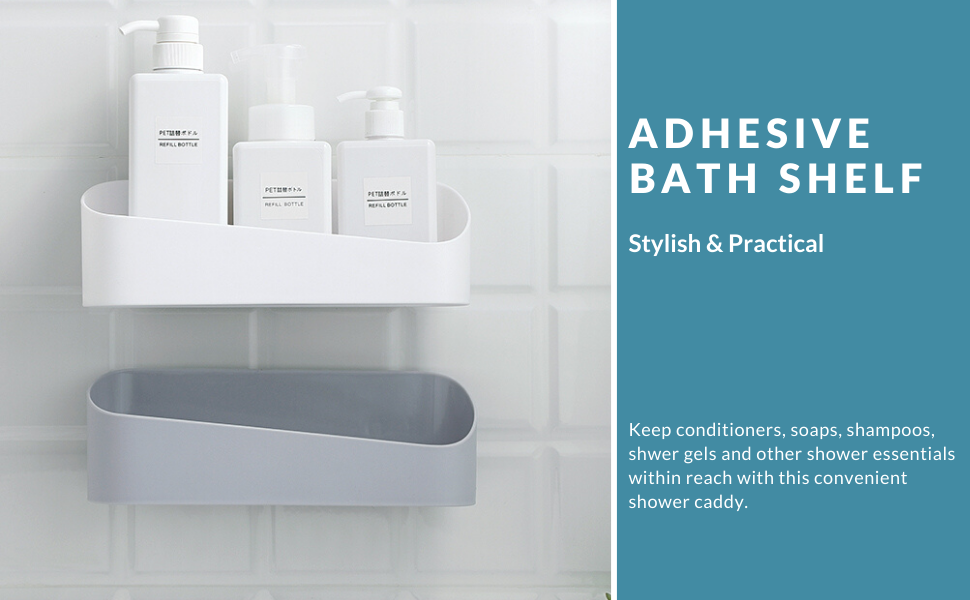 Bathroom Corner Holder Rack Adhesive Storage Shower style Gel Shelf Shampoo I1M8