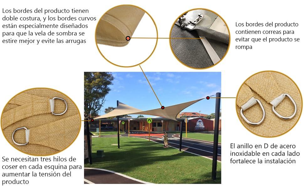 AXT SHADE Toldo Vela de Sombra Cuadrado 2 x 2 m, protección Rayos ...